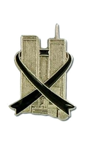 Twin Towers Black Ribbon Lapel Pin Tac Hero Pewter 9-11-01 Awareness NY City New