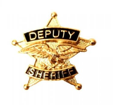 Deputy Sheriff Tie Tac 5 Point Star Eagle Tack Officer Professional Gold P3802G
