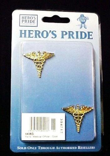 Caduceus Medical Officer Pin 2 Piece Set Collar Device Gold Tac Military New