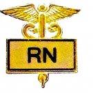 RN Inlaid Pin Caduceus Registered Nurse Gold 3501G New