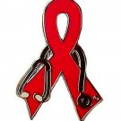 Cardiovascular Disease Pin Red Awareness Ribbon Stethoscope New