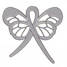 Asthma Awareness Gray Support Ribbon Butterfly Breathing Lapel Pin