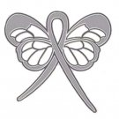 Sciatic Pain Awareness Gray Support Ribbon Butterfly Lapel Pin
