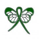 Manic Depression Awareness Month October Green Ribbon Butterfly Pin
