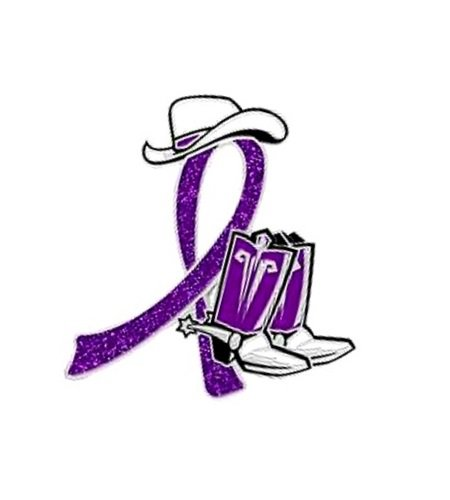 Huntington's Disease Pin Purple Glitter Ribbon Cowboy Western Boots Hat