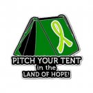 Muscular Dystrophy Pin Awareness Lime Ribbon Tent Land of Hope Camper