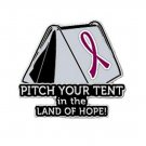 Multiple Myeloma Pin Awareness Burgundy Ribbon Tent Land of Hope Camper