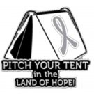 Brain Cancer Pin Awareness Gray Ribbon Tent Land of Hope Camper
