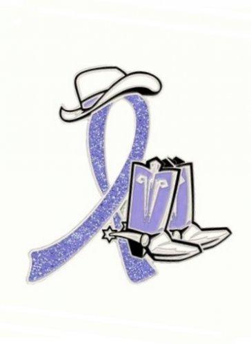 Eating Disorders Pin Periwinkle Awareness Ribbon Cowboy Western Boots Ha