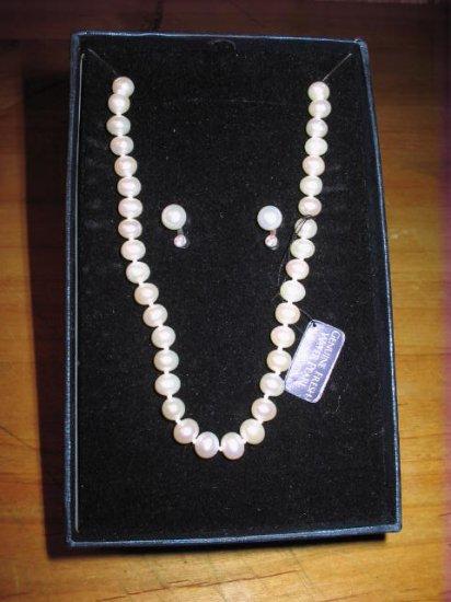 Genuine Freshwater Pearls & Earrings
