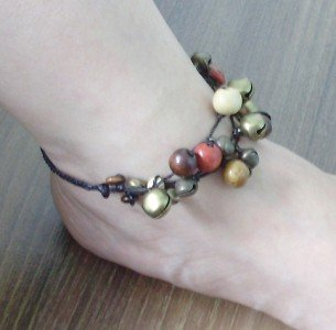 HANDMADE ANKLET BRASS BELL COLORFUL WOOD BEAD THAI GIFT THAILAND LUCKY SOUVENIR