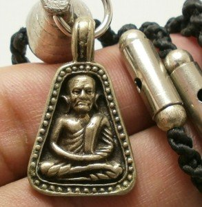LP NGERN THAI BUDDHA AMULET WEALTH LUCKY RICH PENDANT ROPE NECKLACE SPECIAL GIFT