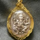 LORD GANESH GANESHA & OM OHM GOD SIGN HINDU THAI AMULET GIFT GOLD PLATED PENDANT