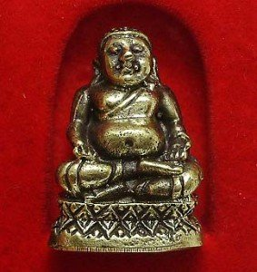TINY MINIATURE HAPPY BUDDHA SANGKAJAI HOTEI BUDAI REAL THAI MINI AMULET RICH WIN