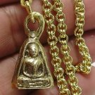1983 LP NGERN THAI BUDDHA AMULET WEALTH LUCKY RICH PENDANT GOLD PLATED NECKLACE