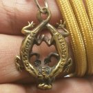 DUO GECKO PENDANT THAI AMULET RICH WEALTH ATTRACTION TALISMAN ROPE NECKLACE GIFT