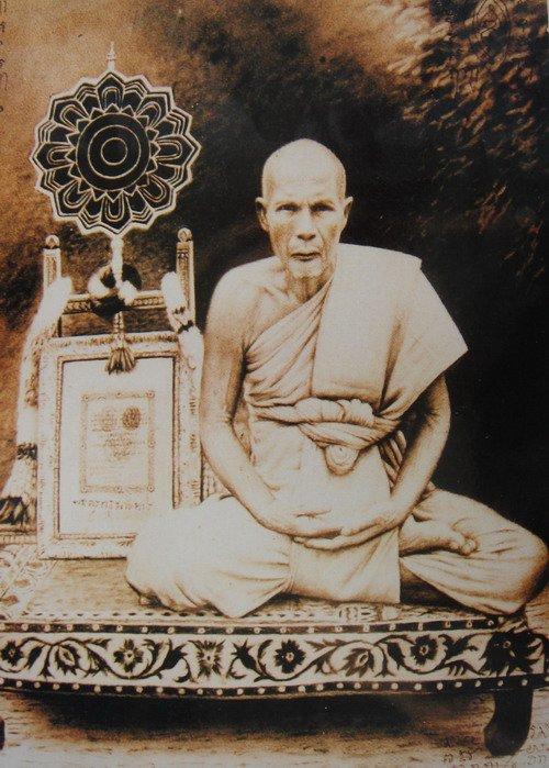 1953 RED TRIANGLE BUDDHA LP PUEK WAT KINGKAEW SALIKA YANT THAI POWERFUL AMULET