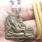 LORD GANESH GANESHA OM AOM GOD DEITY BRASS PENDANT HINDU SUCCESS AMULET NECKLACE