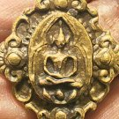 TINY PIDTA PITTA CLOSE EYE BUDDHA BRASS MINI AMULET THAI BLESS STRONG PROTECTION