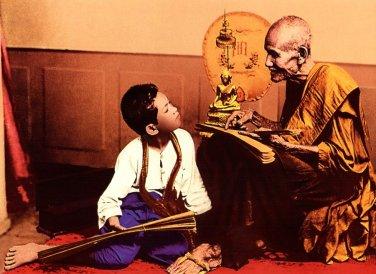 THAI AMULET PENDANT NECKLACE BLESS 1973 SOMDEJ TOH TEACH KING RAMA 5 MAGIC YANT