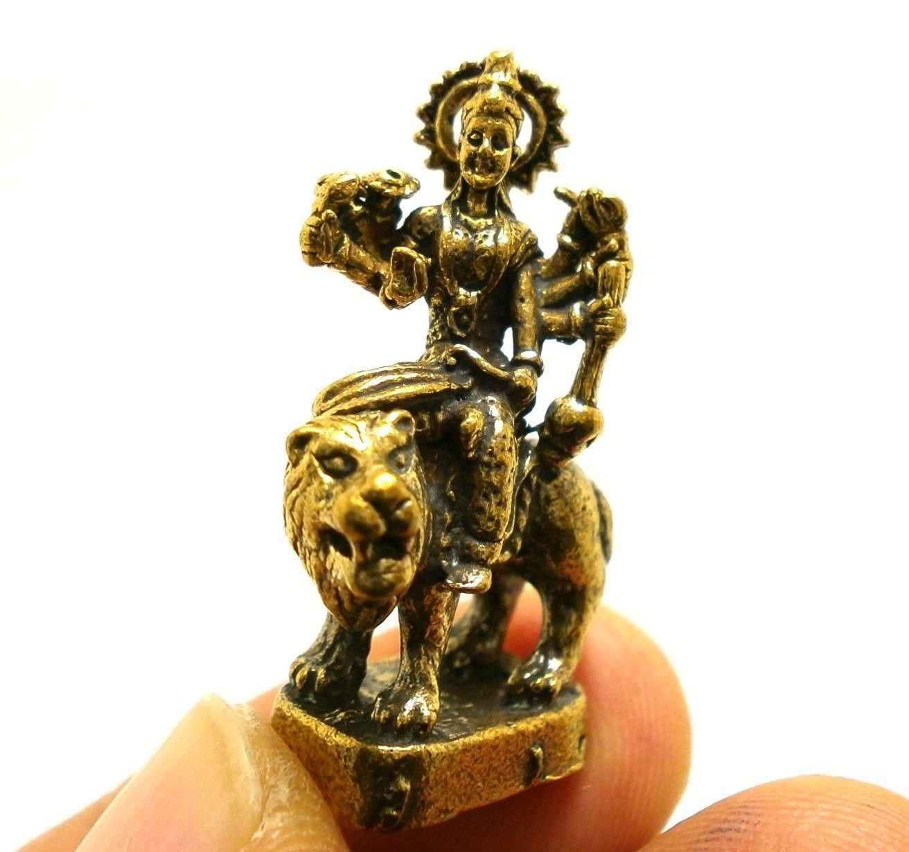 HINDU MINI BRASS AMULET MAA DURGA PARVATI KALI UMA DEVI RIDE LION GODDESS SHAKTI