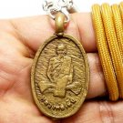 LP DERM BACK SINGHA THAI ANTIQUE BRASS COIN BUDDHA LUCKY SUCCESS AMULET PENDANT