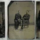 Three Tintypes - Two with Cigar Smokers