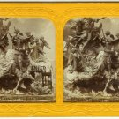 Tinted French Tissue Stereoview of a Statue