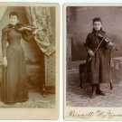 Two Female Violinists Cabinet Cards