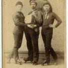 Three Men on Roller Skates Cabinet Card