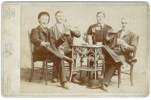 Men Drinking Cabinet Card