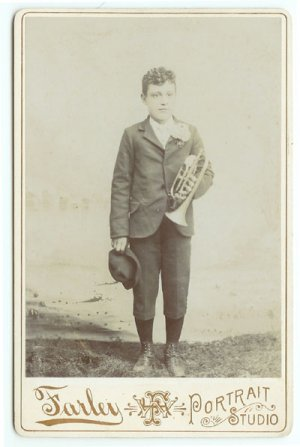 Young Boy with a Trumpet Cabinet Card