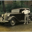 Tinted Photograph of a Man and His 1934 Plymouth
