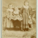 Three Young Sisters with Umbrella Cabinet Card