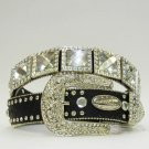 Blinged Out Black Western Belt  with Crystal Squares