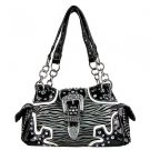 Womens Black & White Zebra Print Rhinestone Handbag with Shoulder Strap