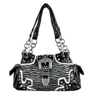 Womens Black & White Zebra Print Rhinestone Handbag with Shoulder Strap