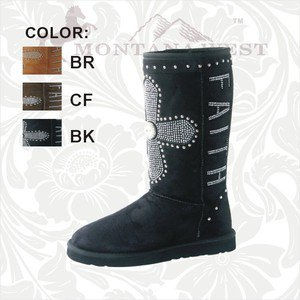 Western Fashion Boots - Suede with Rhinestone Crosses - Montana West Brand
