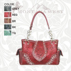Cowgirl Western Montana West Shoulder Handbag Purse Leather Tooling Red