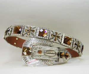 Blinged Out Cowgirl Western Hair On Hide Belt Gold Maltese Crosses S M L XL