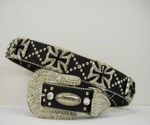 Blinged Out Cowgirl Western Belt Prism Cut Maltese Cross Conchos S M L XL