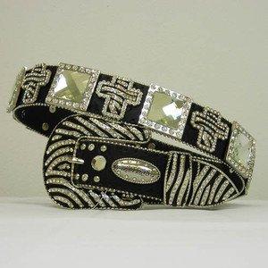 Beautiful Blinged Out Cowgirl Zebra Striped Belt Cross Concho S M L XL