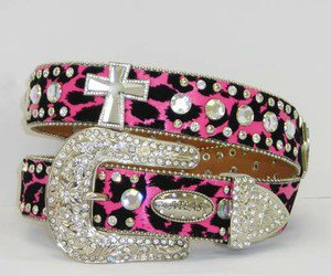 Blinged Out Cowgirl PInk & Black Leopard Western Belt  with Crystal Cros Conchos