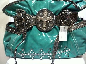 Cowgirl Western Shoulder Handbag Purse Blinged Out with Cross Fuchia or Black