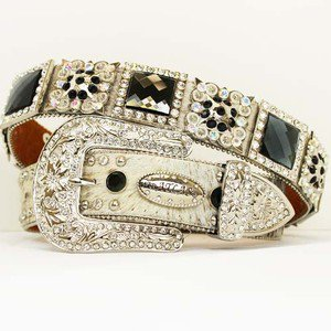 Beautiful Western Cowgirl Brindle Hair on HIde Belt Prism Cut Rhinestones