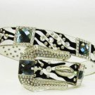 Beautiful Blinged Out Cowgirl Zebra Striped Belt Prism Cut Rhinestone Conchos