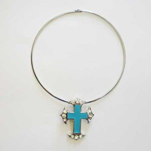 Beautiful Turquoise CROSS Pendant on Choker Encrusted with Crystals