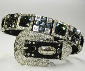 Beautiful Blinged Out Cowgirl Western Belt Prism Rhinestone  & Cross Conchos