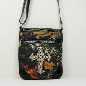 Cowgirl Messenger Bag Blinged Out Camouflage with Cross on Front