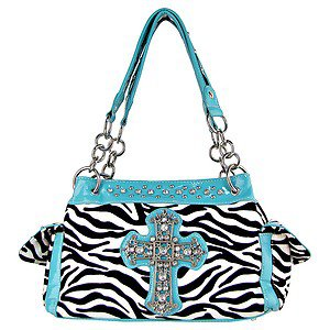 Womens Blinged Out Turquoise Black Zebra Striped Rhinestone Cross Handbag Purse